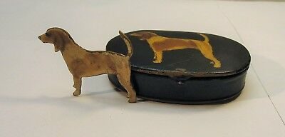 VINTAGE TOLE Like TIN WITH Dog paint Hand painted COVER & Brass painted Dog Pin