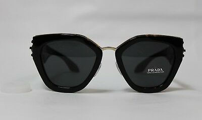 b02ed69d7a PRADA SPR 10TS Black Frame Smoke Lens Sunglasses 100% AUTHENTIC