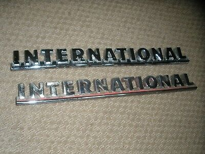 "Pair Vintage International Truck Emblems 1950S 1960S #82195-R1 Harvester 13"" P/u"