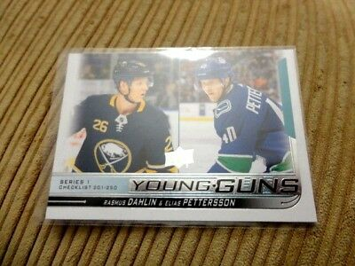 18-19 UD Series 1 YOUNG GUNS ROOKIE CHECKLIST 250 PETTERSSON DAHLIN