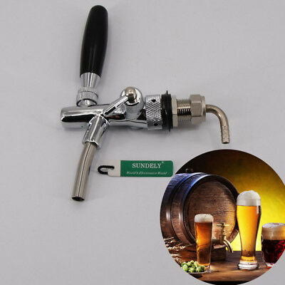 Brand New Short Shank Beer Draft Tap Faucet With Flow Control Home Brew Silver