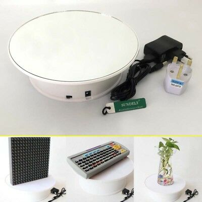 Mirror Top Rotating White Motorized Display Turntable Electric Stand 360 Perfect