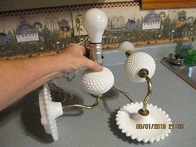 Pair Of Victorian Antique/vintage White Hobnail/milk Glass Wall Sconces