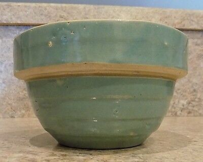 "Vintage small stoneware bowl teal robins egg blue 5"" USA 4 rings"