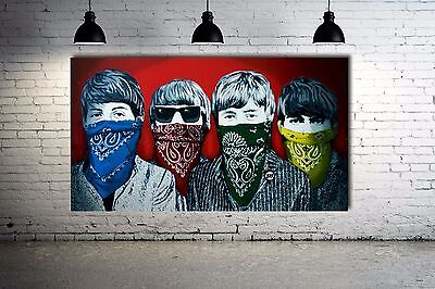 Banksy Beatles Red Version Street art Canvas Ready to Hang 36 x 20 WoW