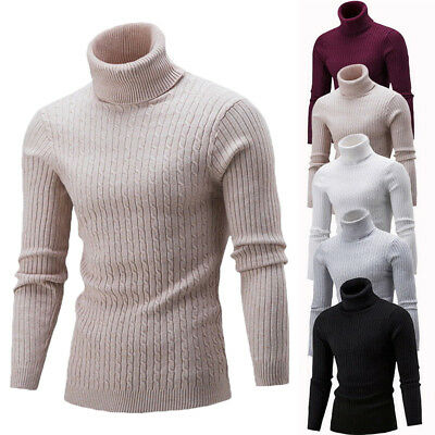 US STOCK Mens Turtleneck Sweater Pullover Tops Long Sleeve Slim Knitted Sweater