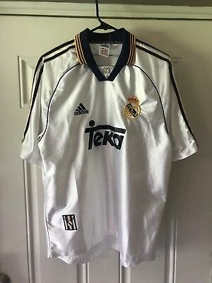 huge discount 73325 08772 RARE VTG WHITE 1999-2000 Adidas Real Madrid Teka Club Soccer/Football  Jersey M