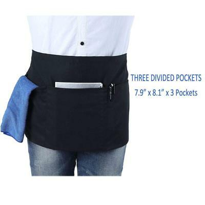 Waist Apron with 3 Pockets-Black Waitress Waiter Server Half Short Apron Kitchen