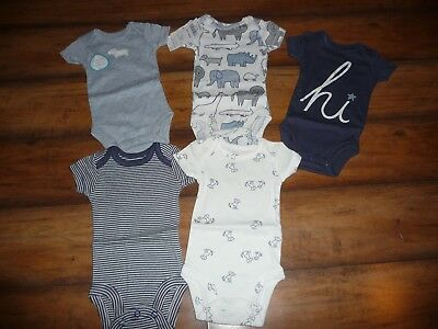 NEW NWT Carters boys size 3 months 5 pack blue safari/dog bodysuits