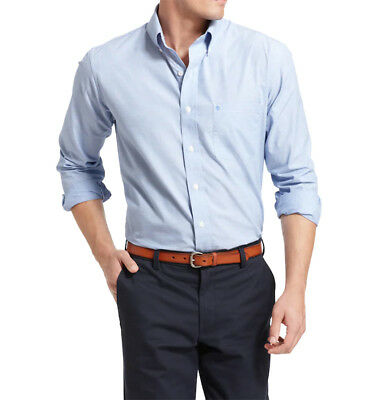 New Mens Izod Chest Pocket Easy Care Solid Blue Cotton Button Front Shirt S