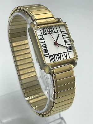 RARE ACME BY Charles Rennie Mackintosh Men's Gold Watch VINTAGE ROMAN SQUARE