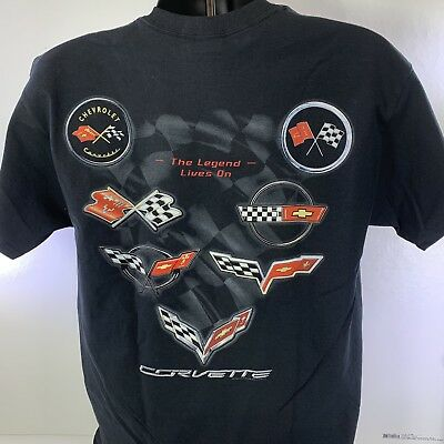 T-Shirt w/ Corvette Emblems (The Legend Lives on C-1 C-2 C-3 C-4 C-5 C-6 C-7)