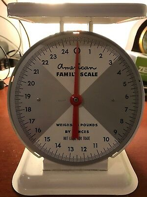 Vintage American Family Kitchen Scale Metal 25 Lb. Capacity Works