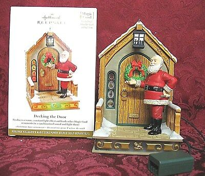 Hallmark 2011 Magic Cord Santa Ornament~Light & Sound~Decking The Door