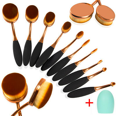 Rose Gold 10Pcs Professional Makeup Brushes Oval Cream Puff Brush+Clean Scrubber