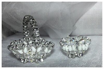 Handcrafted Miniature Footed Basket And Dish Wedding Theme Made With Swarovski