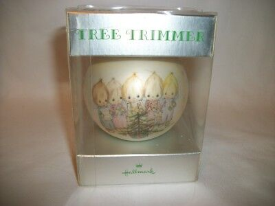 1973 Hallmark Betsey Clark CAROLERS w/ TREE Glass Ball Christmas Ornament