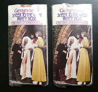 2x Vintage GENEVIEVE Pantyhose BROWN Ambrey 10.5-11 Collectable Panty Hose