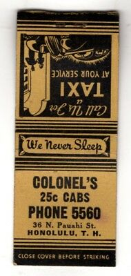 Colonel's Cabs Honolulu Territory Of Hawaii Vintage Matchbook Cover Dec-4