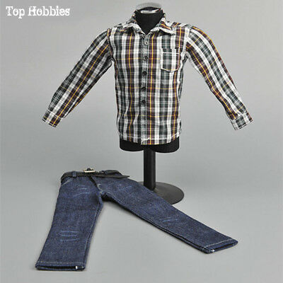 1/6 Male Casual Clothing Plaid Shirt White Brown Jeans Pants Pattern 12'' Figure