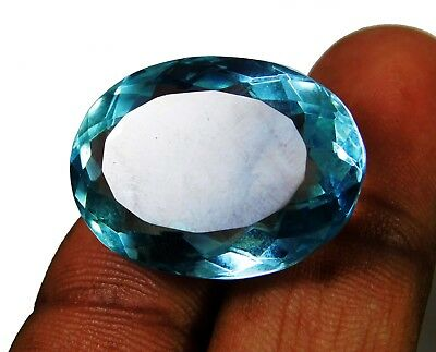 33.35 Cts. Natural Oval Cut Transparent Ocean Blue Aquamarine Loose Gems. 1870