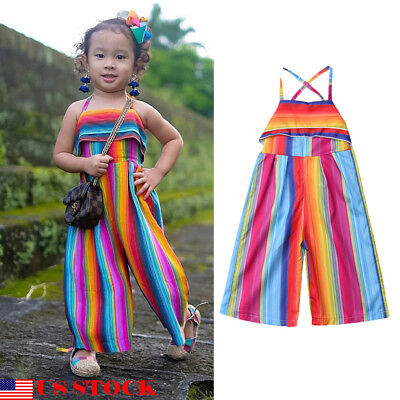USA 1PC Toddler Baby Girls Kids Sling jumpsuits Bodysuit colorful Clothes Outfit