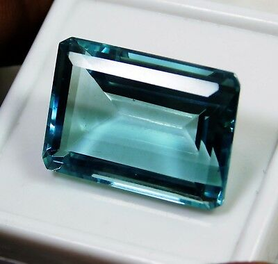 35.25 Cts Natural Genuine Aquamarine Emerald Cut Loose gemstone. 1877