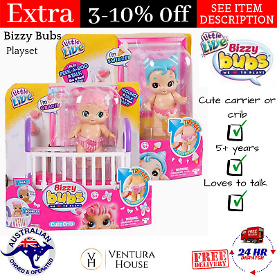 Little Live Bizzy Bubs Cute Baby Talking Doll Swirlee Gracie Playset Assorted