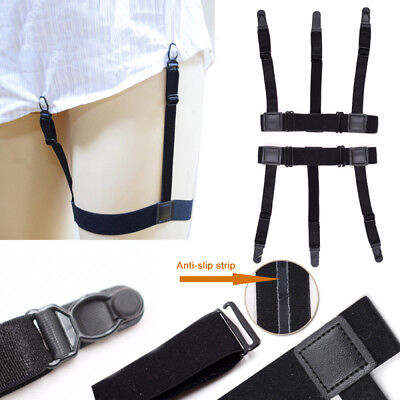 Mens Elastic Garters Non-slip Locking Clamps Suspender Shirt Stays Holders DES
