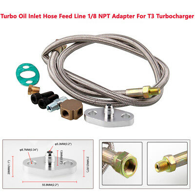 NPT Adapter Fittings T3 T4 Turbocharger 77 inches Stainless Steel Braided Turbo Oil Feed Line
