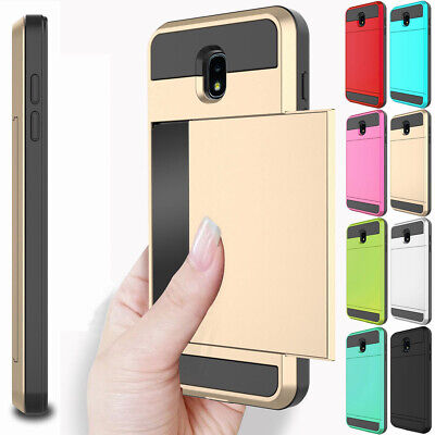 For Samsung Galaxy J2 Pro 2018 Wallet Card Holder Slot Hard Slim Back Case Cover