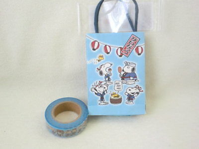 Sanrio Snoopy Japanese Festival paper tape with mini bag NEW blue