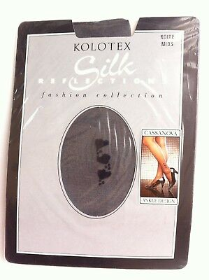 Silk Reflections Kolotex Fashion Collection Noire Mids Ankle Design Black