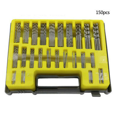 150x HSS Metric Drill Bit Set Titanium Coated Twist Drills Metal Wood 0.4-3.2mm