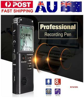 8/16/32GB USB Digital Sound Voice Recorder Pen Dictaphone MP3Player Rechargeable