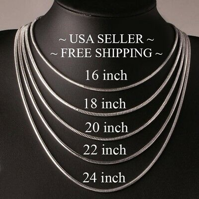 "HIGH QUALITY .925 Sterling Silver Snake Chain Necklace - 2mm 16"" 18"" 20"" 22"" 24"""