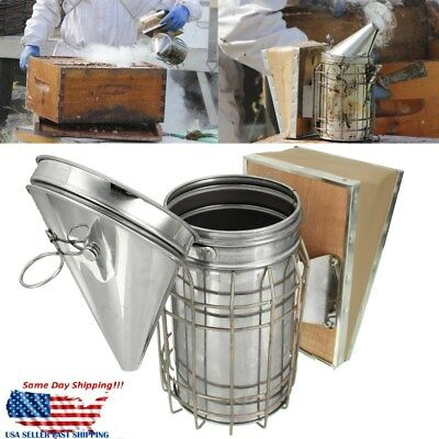 Bee Hive Smoker Stainless Steel w/Heat Shield Apiary Fogger Beekeeping Equipment