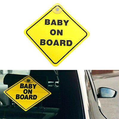 Baby On Board Child Safety Suction Cup Car Van  Yellow Sign Plastic Sticker New