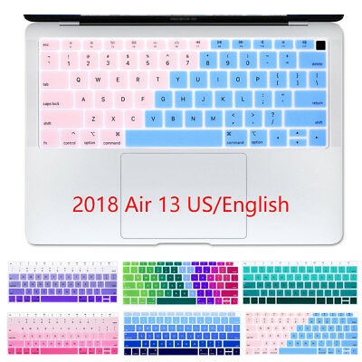 Silicone US English Rainbow Gradient Keyboard cover skin Macbook Air 13 2018 New