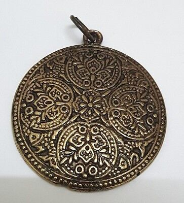 Vintage pendant medallion antique brass floral ethnic tribal engraved jewelry
