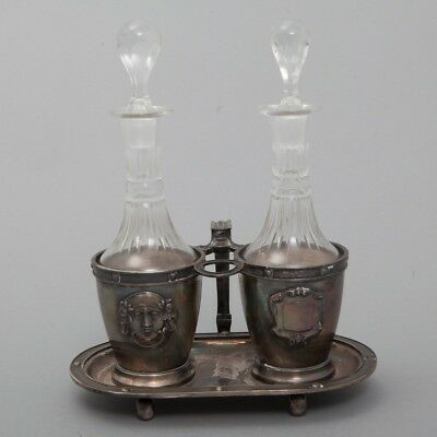 Antique Double Glass Bottles w/ Silver Plated Carrier Tray Oil & Vinegar Cruets