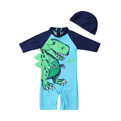 US Baby Kid Boy Dinosaur Sun Protective Swimwear Rash Guard Swimsuit+Hat Costume