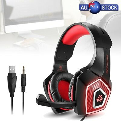 3.5mm Gaming Headset Music LED Mic Headphone For PC Mac Laptop PS4 Xbox One AU