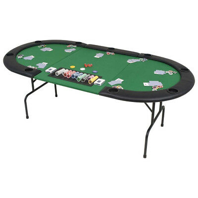(Oval Green, 3 Fold) - Festnight Gaming Classic 9-Player Folding Poker Table 3