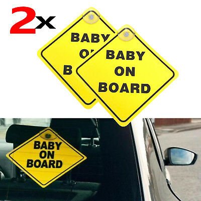 2PC Baby on Board Safety Sign Suction Cups Car Rear Window Glass Safe Sticker