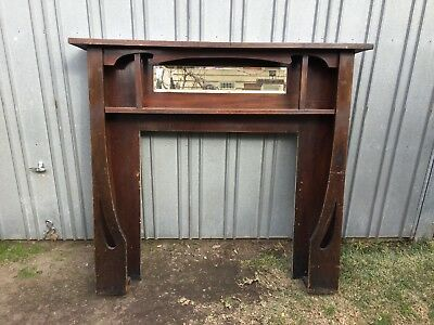 Art Nouveau/Deco/Edwardian Fireplace Mantel. Lovely wooden mantel surround.