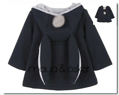 BABY GIRLS NAVY BUNNY EARS RABBIT HOODED COAT JACKET OUTFIT 6 12 18m 2 3yrs