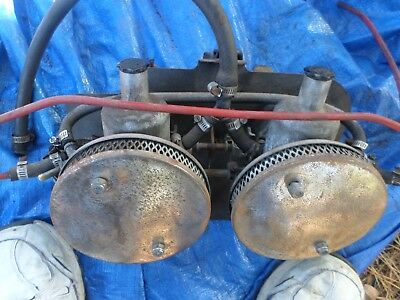 Nice Mg Midget Su Carburetors Intake Manifold Heatshield Linkage Everything  Wow