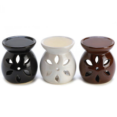 Ceramic Fragrance Foundry Black White Brown Glaze Mini Oil Warmer Trio Set Decor