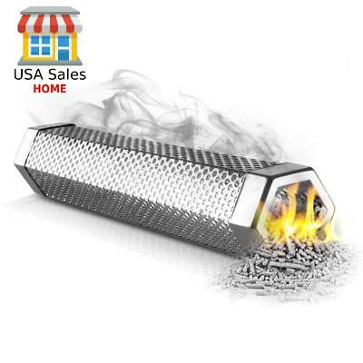 "BBQ Smoker Tube 12 "" Generator Stainless Steel Hot Cold Wood Pellet Strong Smoke"
